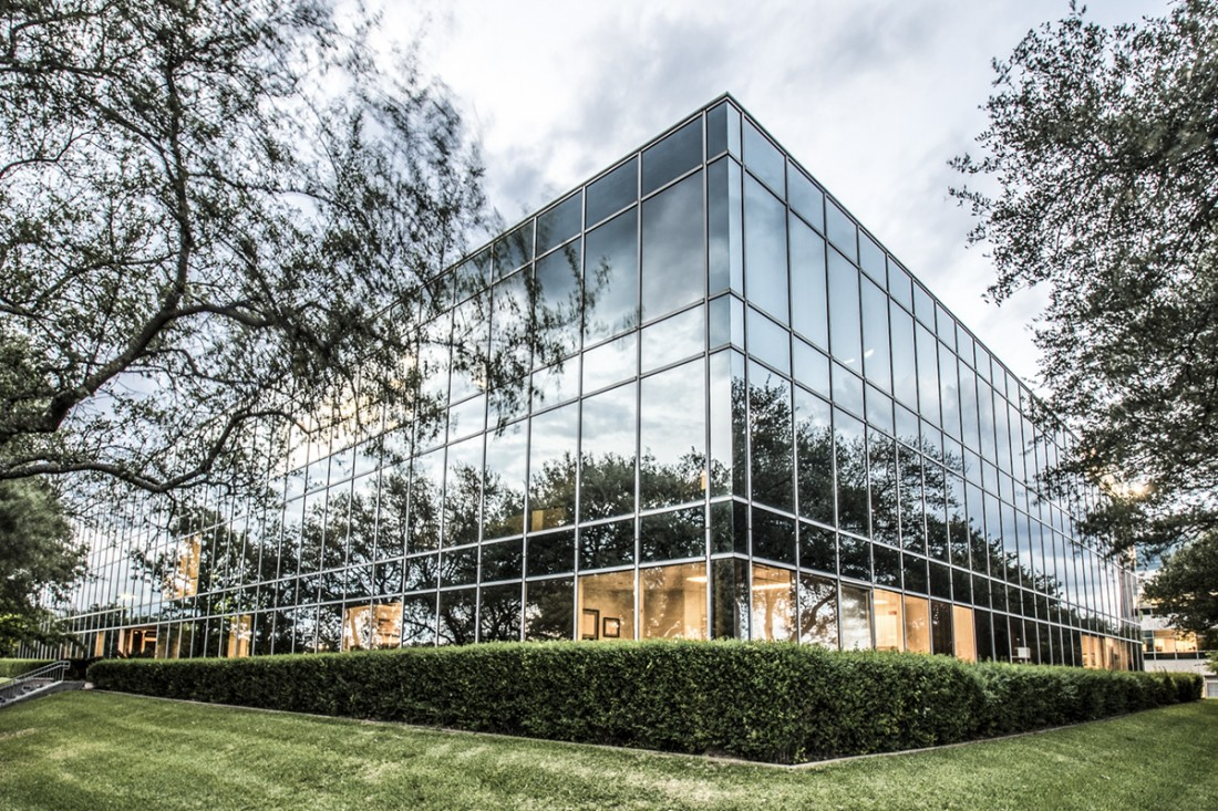 An exterior architectural photograph of an office building in Austin, TX