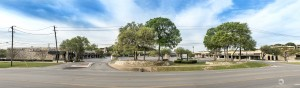 An elevated panorama of West Woods Shopping Center on Bee Caves Rd. in Austin, TX
