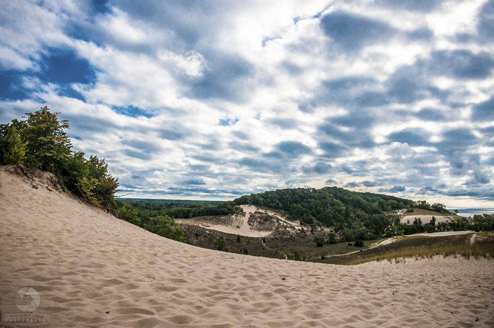 a wide, landscape photo of Warren Dunes Park in Michigan