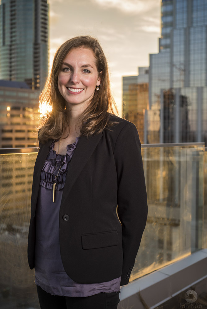 a business portrait of a woman on the roof of the Westin hotel in Austin