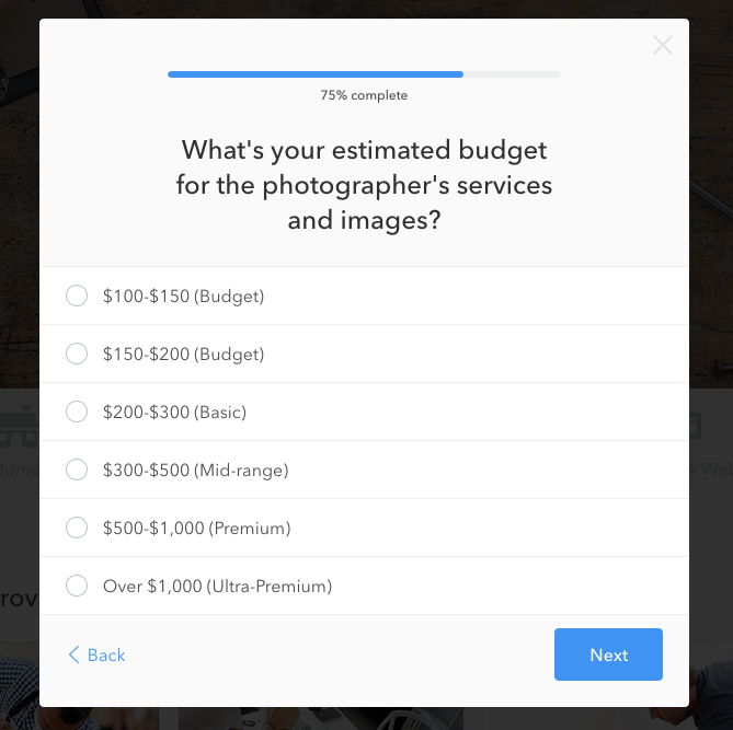 a screenshot of the budget prompt in Thumbtack's request form for commercial real estate photography