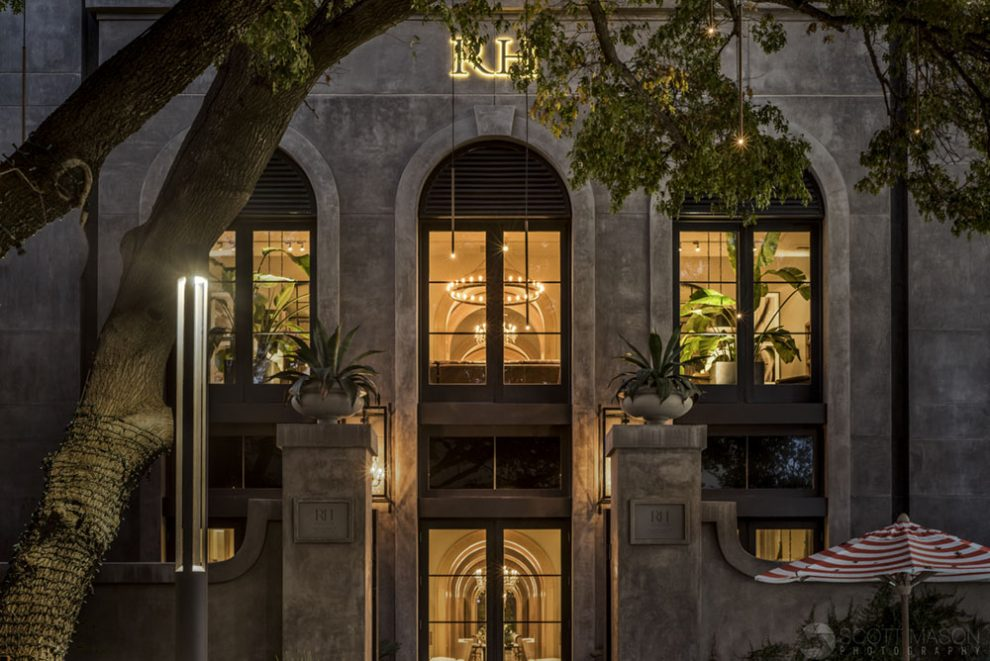 the exterior of Restoration Hardware at the Domain
