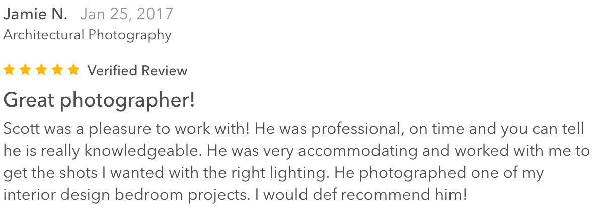 a five-star review for Scott Mason Photography