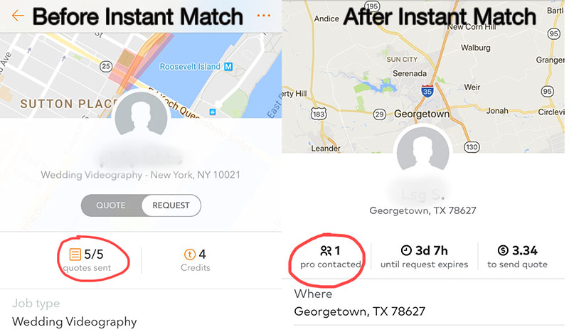 a side-by-side photo showing the difference of Thumbtack's request page before and after Instant Match was released