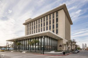 an exterior architectural photo of Moody National Bank in Galveston, TX