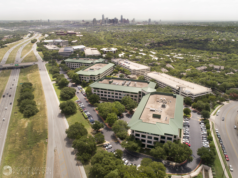 an aerial drone photo of Barton Skyway in Austin, Texas