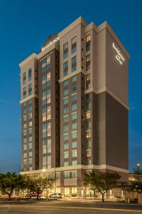 exterior of the Residence Inn by Marriott in Houston at twilight