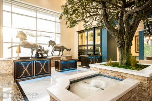 interior photo of the Fairmont Austin lobby hospitality desk