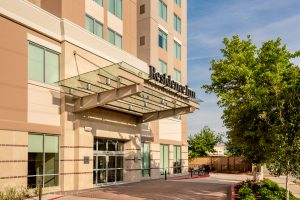 Exterior photo of the Residence Inn Houston at NRG Park at daytime