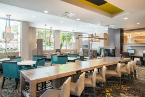 Dining area of the Residence Inn Houston at NRG Park
