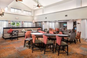 interior photo of the Homewood Suites Austin dining area