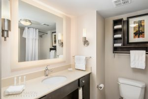interior photo of the Homewood Suites Austin bathroom