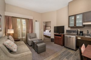 interior photo of the Homewood Suites Austin suite