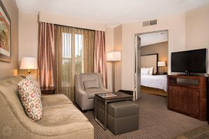 interior photo of the Homewood Suites Austin double suite
