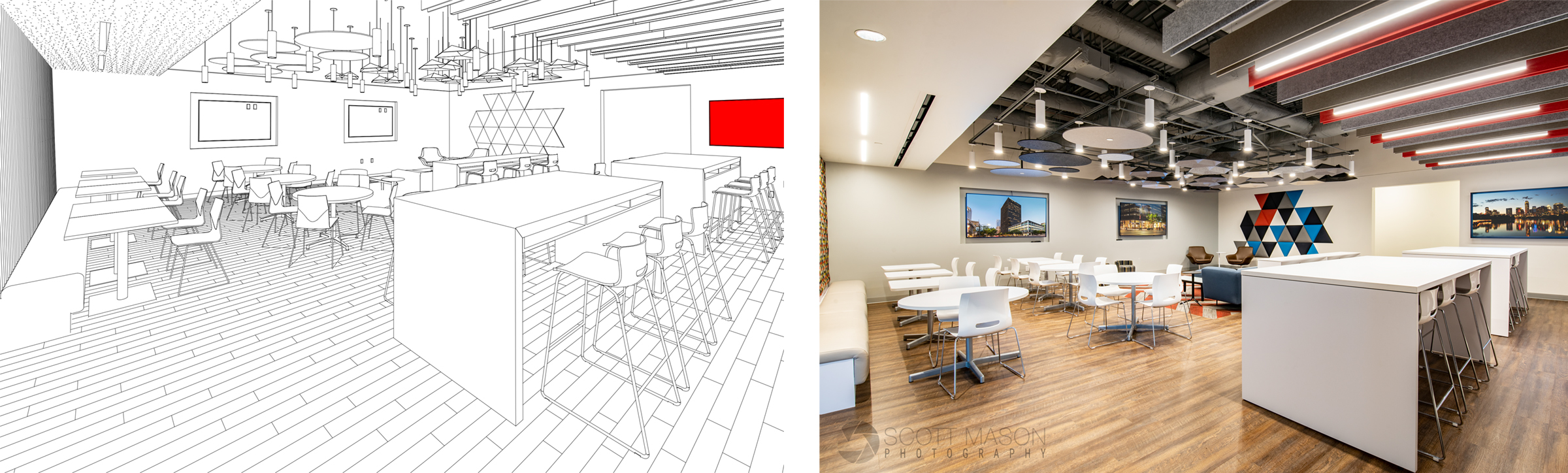 side-by-side of an architectural rendering and interior photo of an office