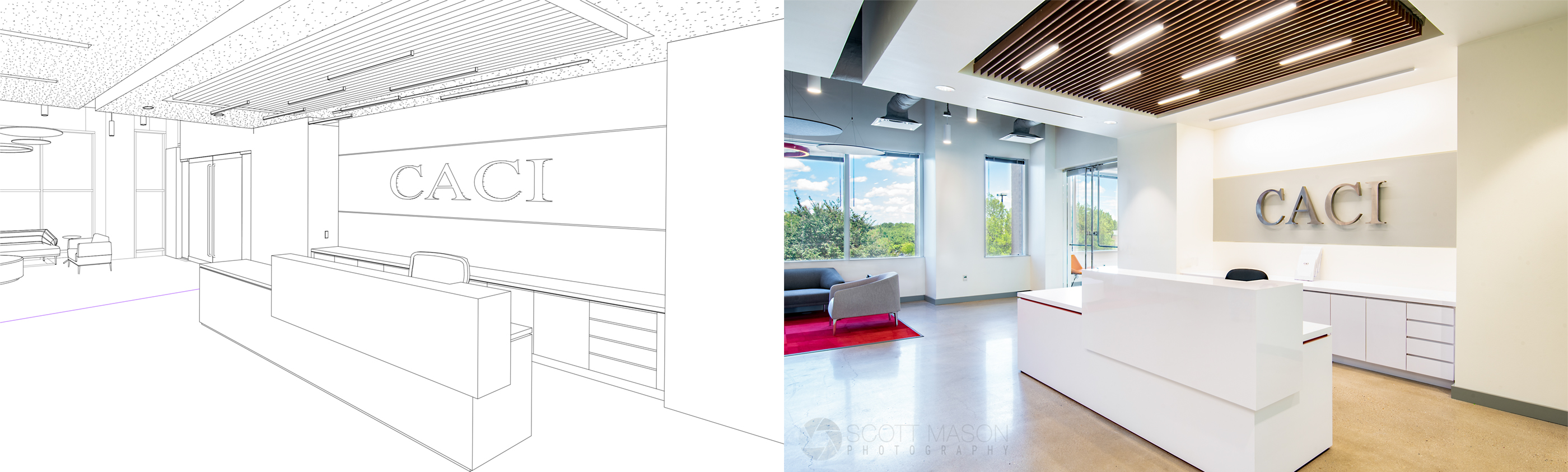 side-by-side of an architectural rendering and interior photo of an office lobby with signage