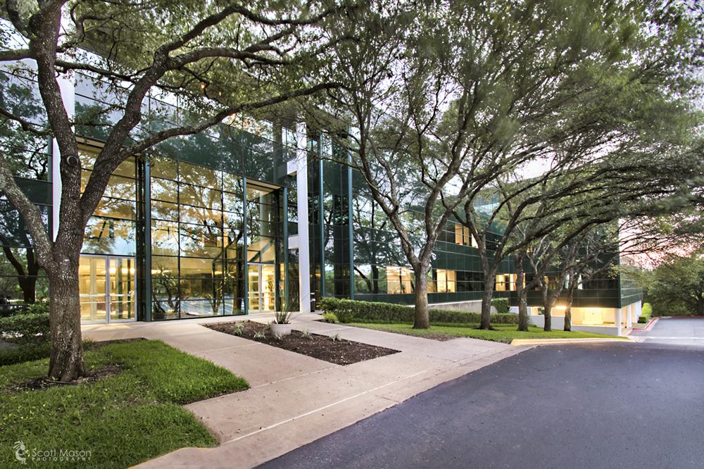 An exterior photograph of an office building in Austin, TX
