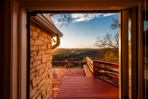 The view of Texas hill country from a house patio