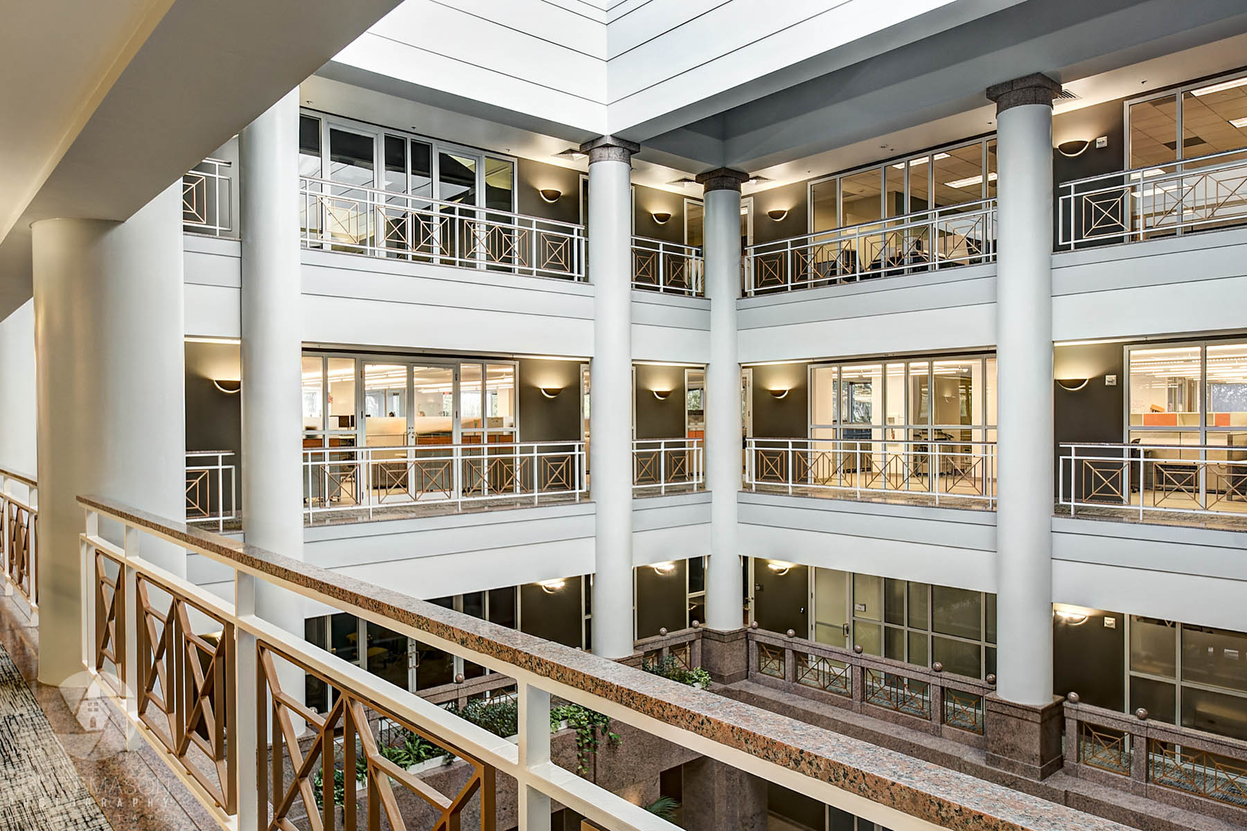 a view from inside the UFCU Plaza 3rd floor