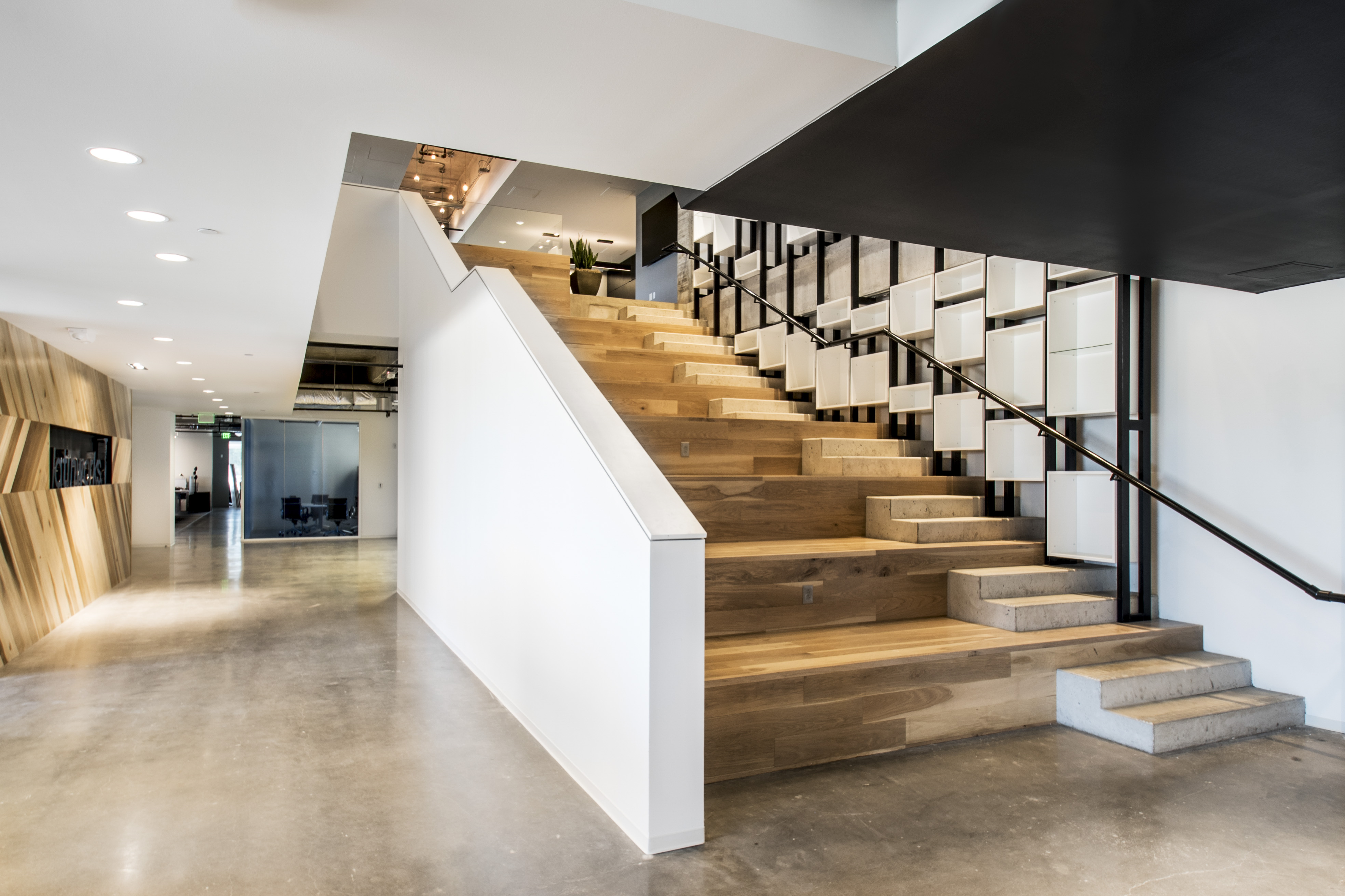 the downstairs area of Latinworks office in Austin TX