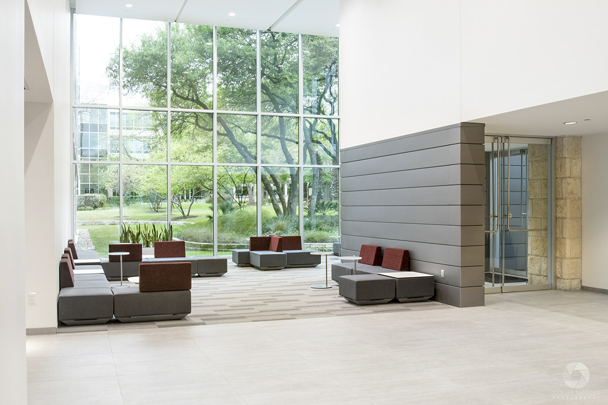 the lobby of Research Plaza in Austin, TX