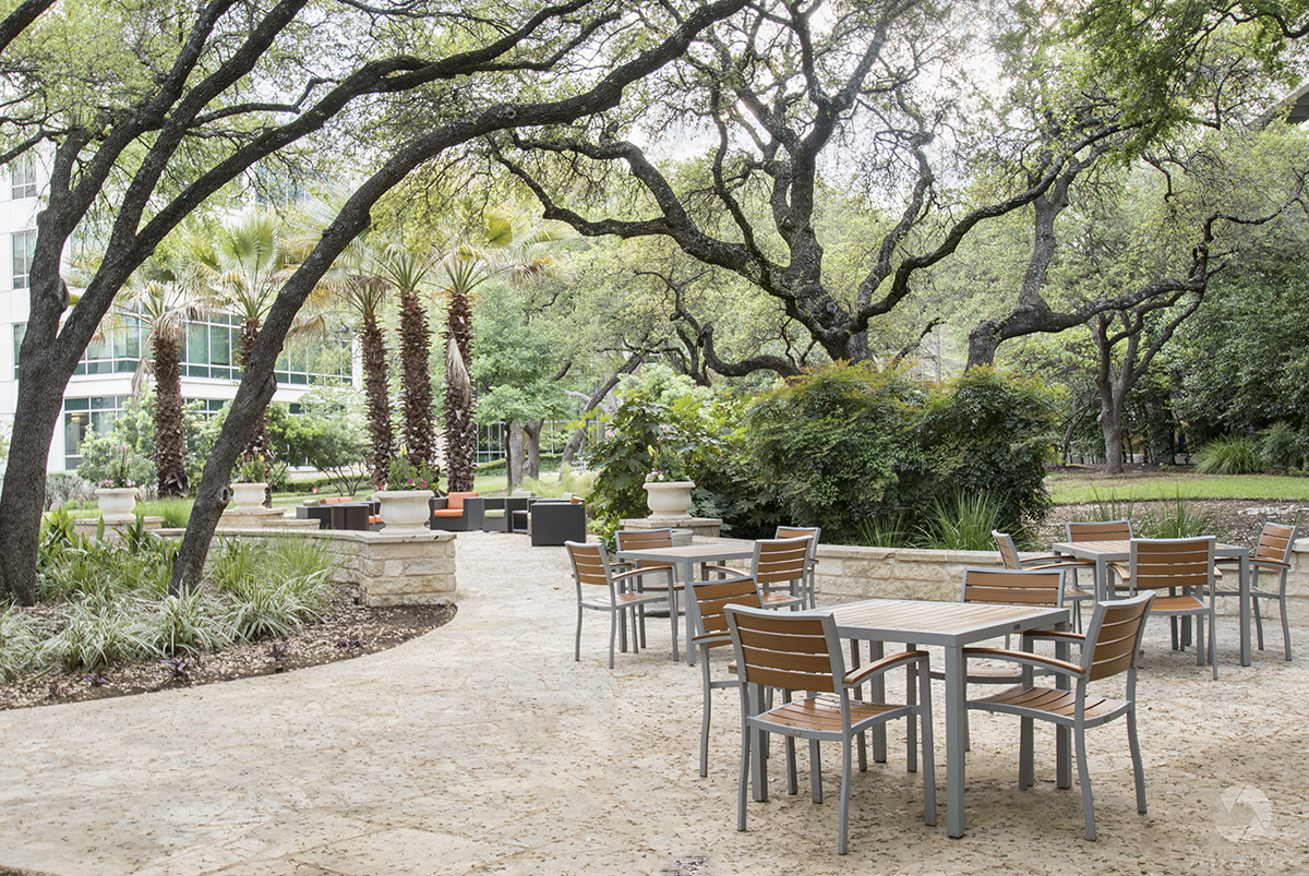 the patio of Research Plaza in Austin, TX