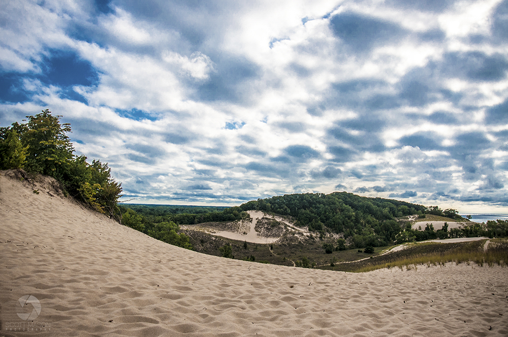 a wide, landscape photo of Warren Dunes Park in Michigan