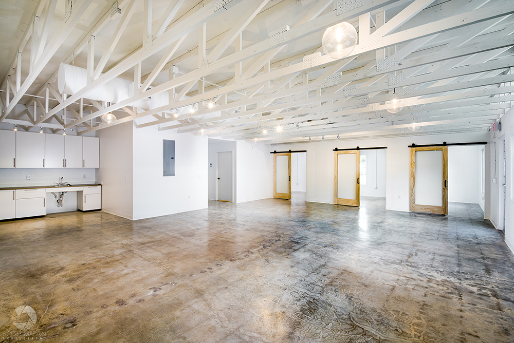 an interior architectural photo of an empty commercial space