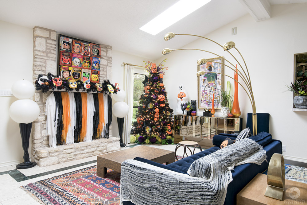 a living room decorated for Halloween