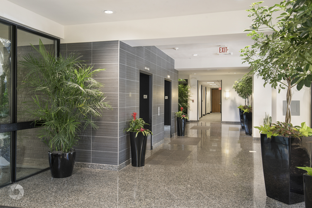 a photo of the lobby of The Atrium office building in north Austin