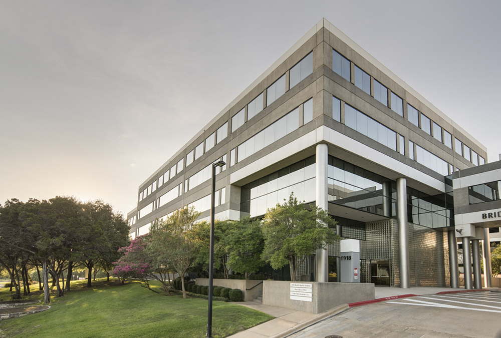 an architectural photo showing Bridgepoint plaza in Austin