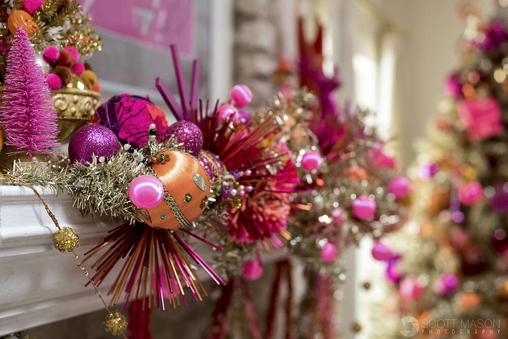 a close-up of vintage christmas interior decorations