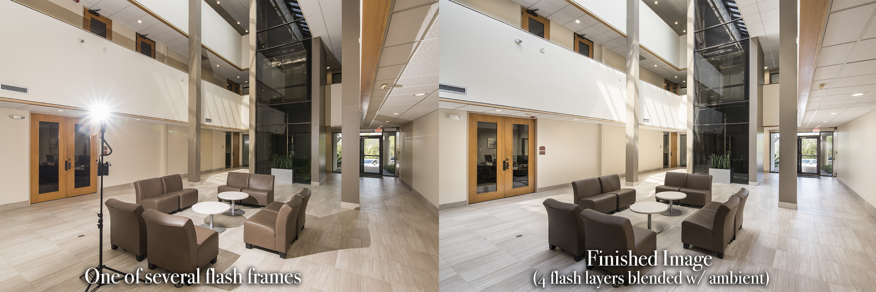 a diptych showing the process of using a Streaklight 360 flash to photograph a commercial interior