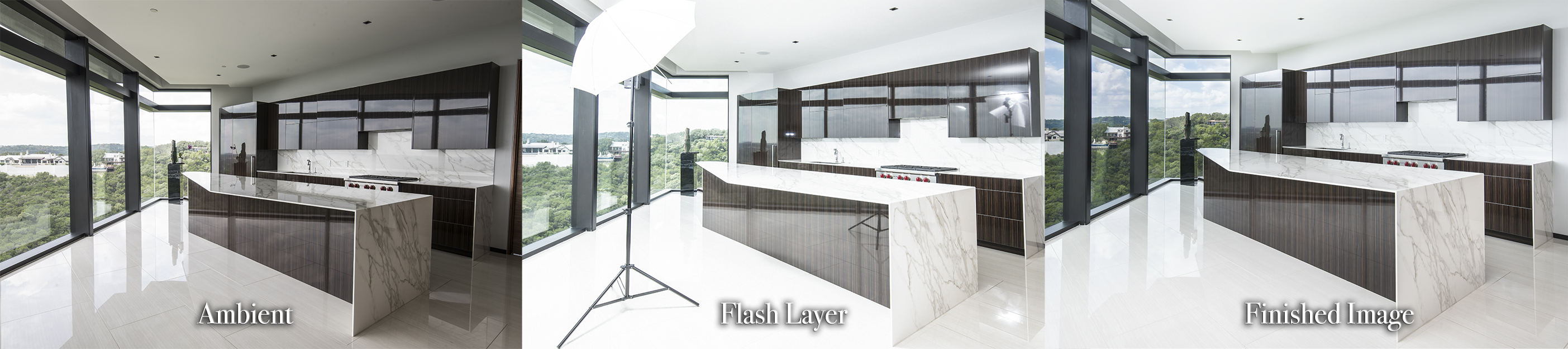 a triptych showing the process of using a Streaklight 360 flash to illuminate a kitchen interior