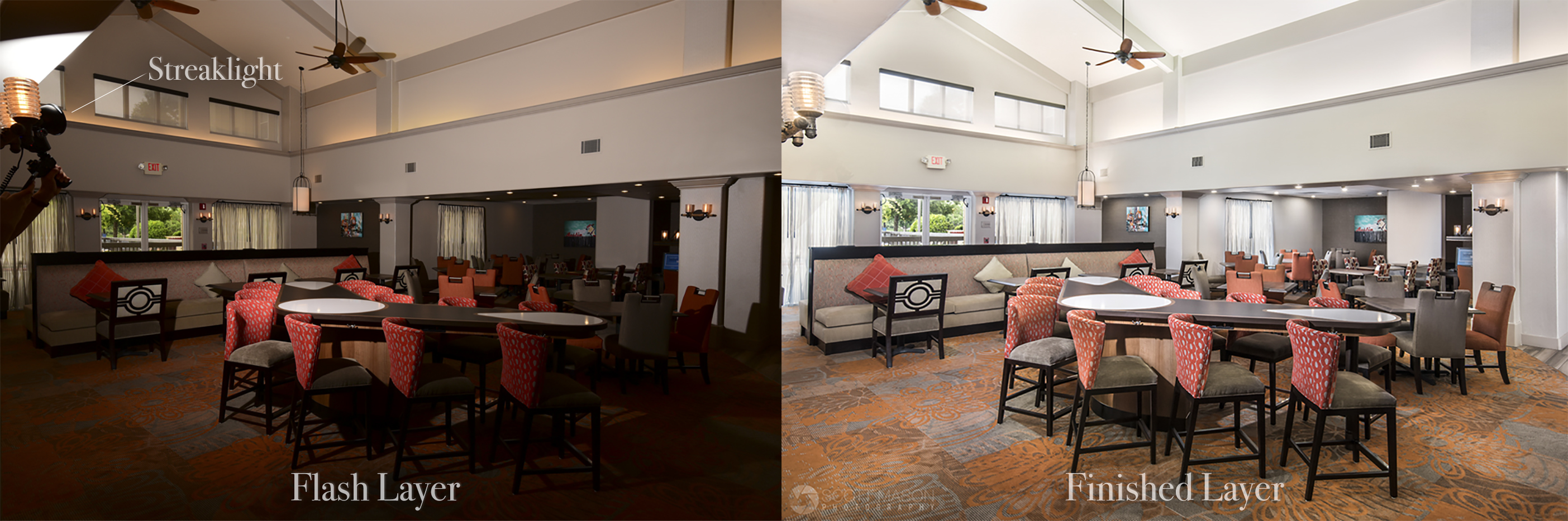 a diptych showing the process of using a Streaklight 360 flash to light a hotel dining area