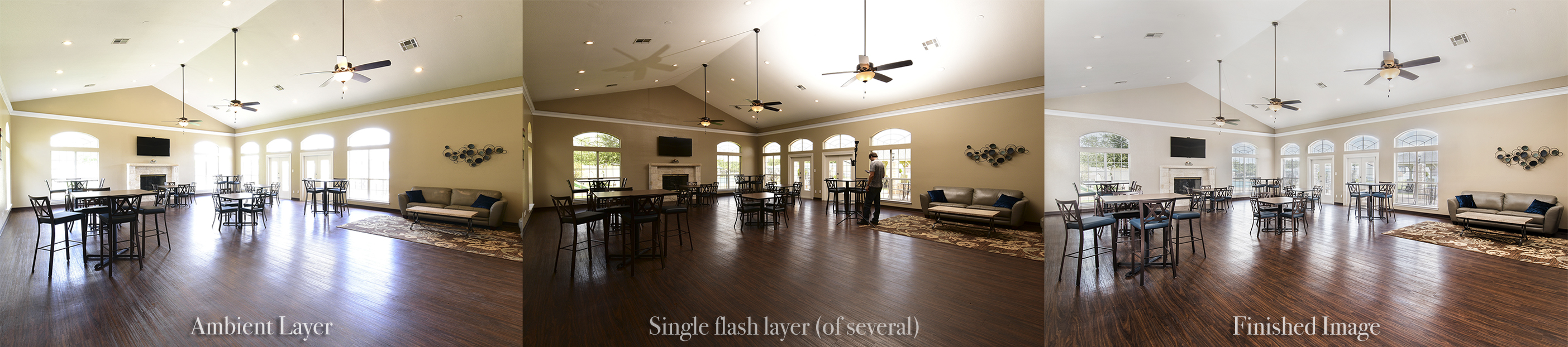 a triptych showing the process of using a Streaklight 360 flash to illuminate a guest area