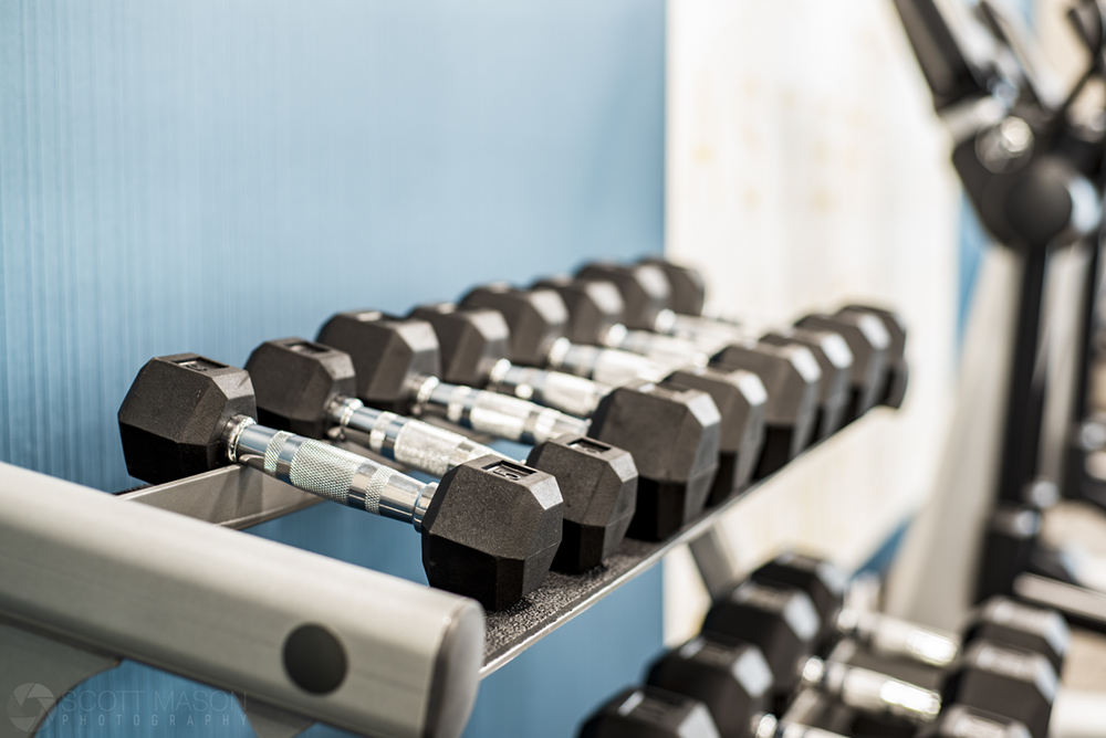 close-up of weights in a gym