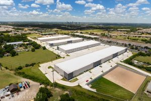 a drone photograph of industrial buildings in Austin