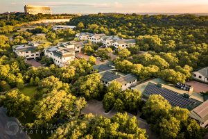 a drone photograph of a medical complex in Austin
