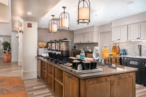 interior photo of the Homewood Suites Austin breakfast area