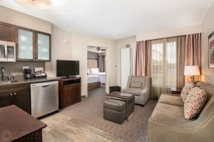 interior photo of the Homewood Suites hotel Austin double suite