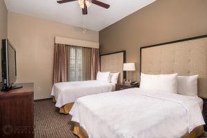 interior photo of the Homewood Suites Austin double bedroom