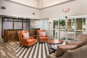 interior photo of the Homewood Suites Austin lobby