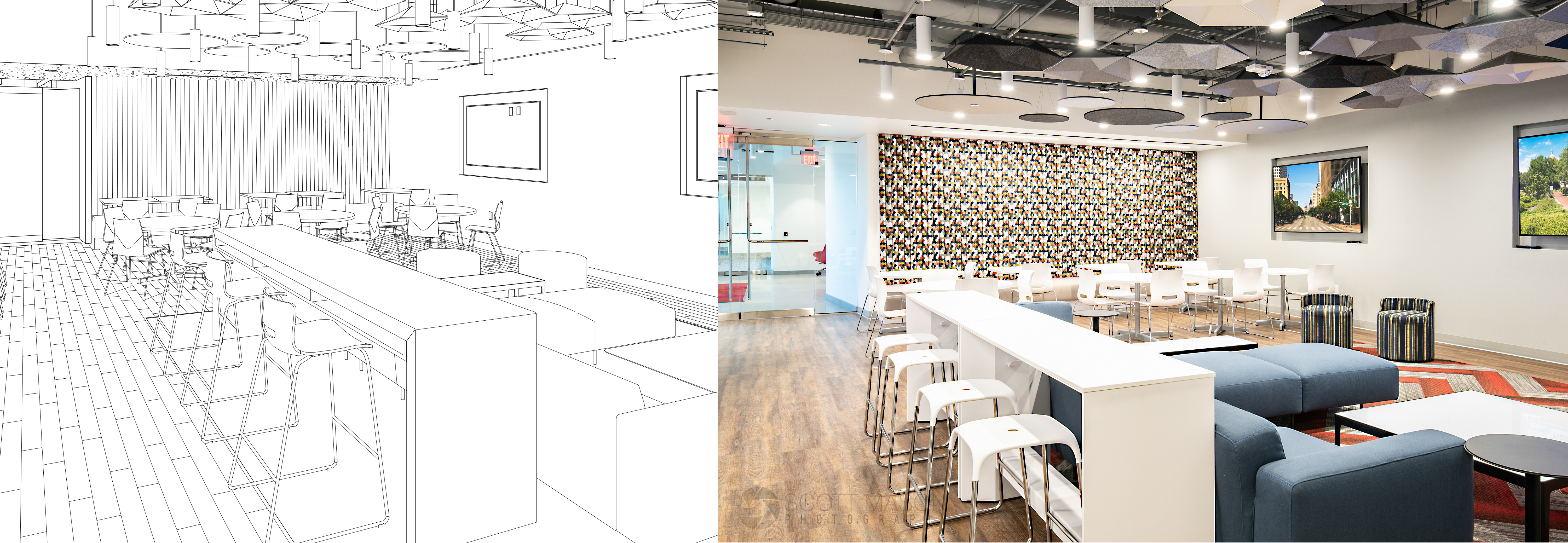 side-by-side of an architectural rendering and interior photo of an office's break room