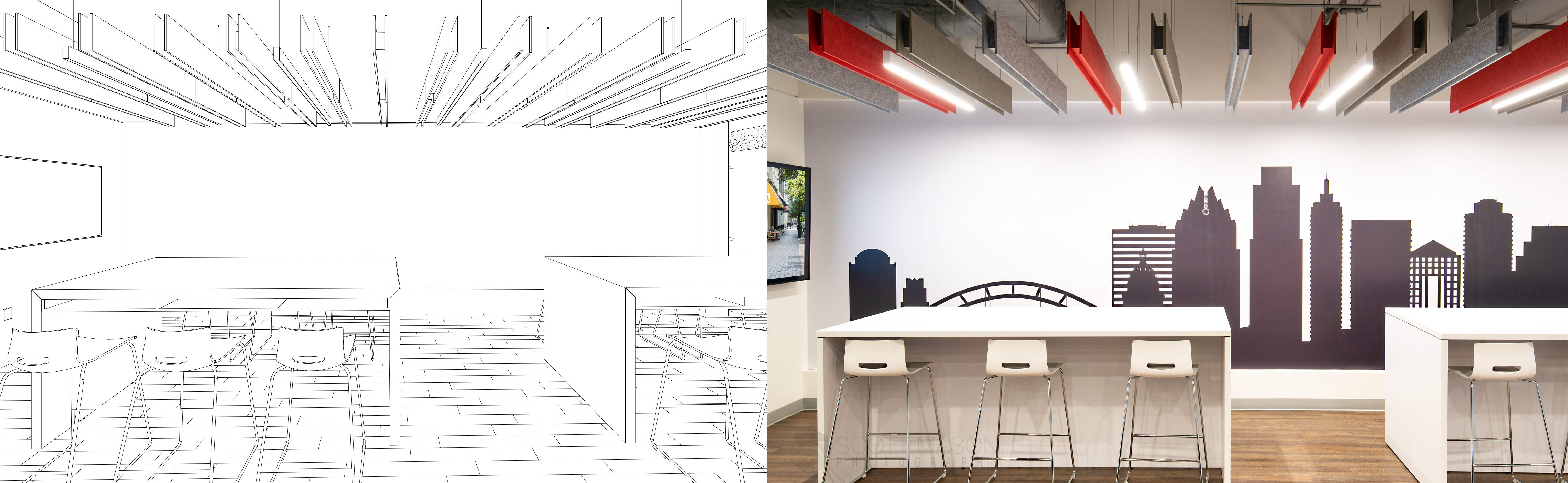 side-by-side of an architectural rendering and interior photo of a break room in an office