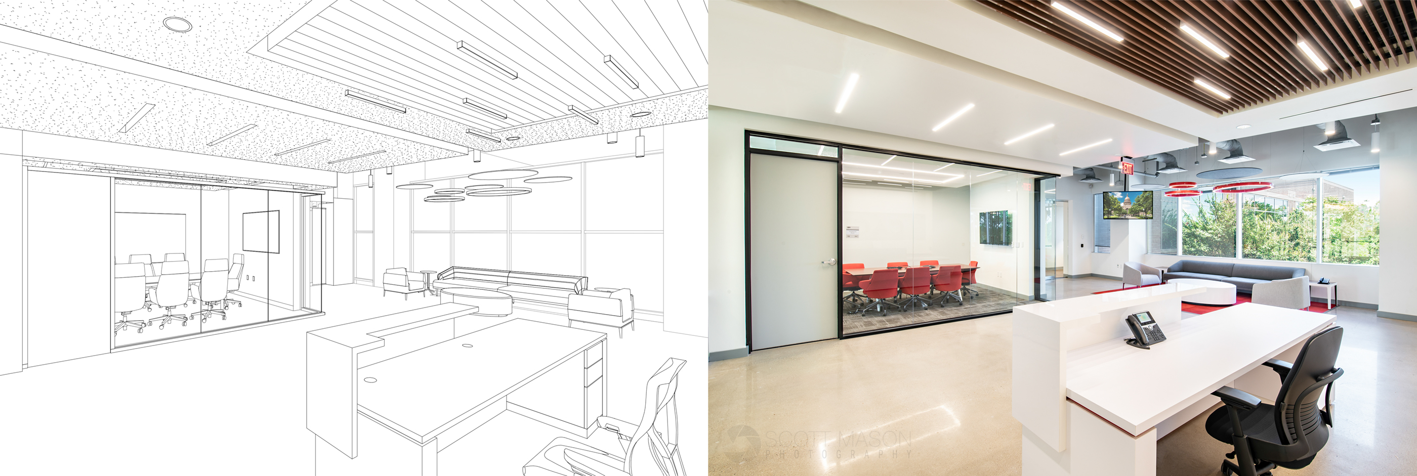 side-by-side of an architectural rendering and interior photo of an office lobby
