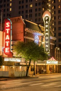 the Paramount theater in downtown Austin at night